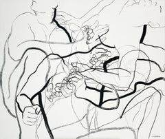 Permeation XI - Young artist, Black and white painting, Nude, Figurative