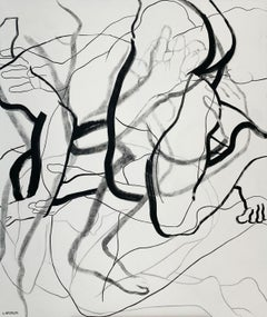 Permeation XII - Young artist, Black and white painting, Nude, Figurative