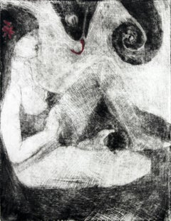 With a chameleon (Red version) - XXI Century, Black And White Figurative Print