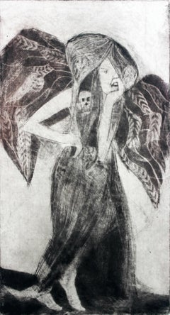 Fallen angel - XXI Century, Contemporary Figurative Print, Black And White, Myth