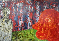 Red face - XXI century, Contemporary Colourful Figurative-Abstract Print