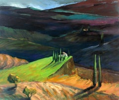 Lavender hills - XXI Century, Figurative Oil Paintings, Flowers, Landscape