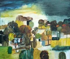 Rain - XXI Century, Oil Landscape Painting, Colourful
