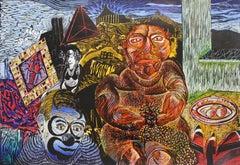 Scraps 96' - XXI Century, Contemporary Colourful Figurative-Abstract Print