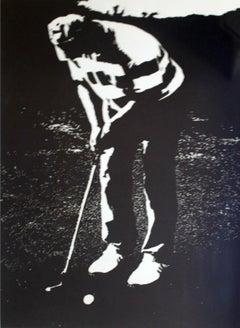 Golfist - XXI Century, Contemporary Black And White Figurative Linocut