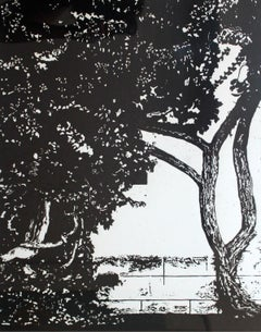 Garden - XXI Century, Contemporary Black And White Figurative Print, Linocut