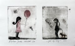 Just say sorry - XXI Century, Contemporary Figurative Print, Black, White, Pink