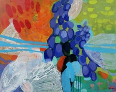 A Garden with a Blue-  XXI Century, Contempory Abstract, Acrylics, Painting