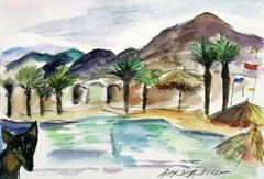 A doggy - XXI century, Watercolour figurative, Colourful, Landscape