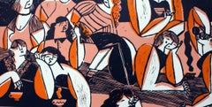 Bored girls - XXI century, Young artist, Colourful figurative print