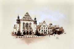 Adam Mickiewicz University in Poznań - Watercolour figurative, Architecture