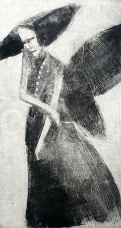 Black angel - XXI century, Black and white figurative print, Myth