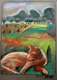 Lioness - XX century, Figurative pastel, Animals, Colourful