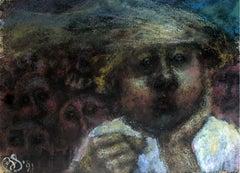 Reflection - XXI century, Figurative pastel portrait, Symbolic, Dark colours