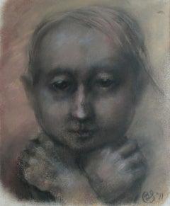 Thoughtful - XXI century, Figurative pastel portrait, Symbolic, Dark colours
