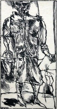 Third traveler - XX century, Black and white print, Figurative