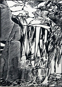 The drummer of victory - XX century, Black and white etching, Figurative