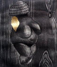 Venus in gold - XXI century, Black, white and gold print, Figurative
