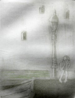 Lantern - XXI century, Figurative mezzotint print, Monochromatic