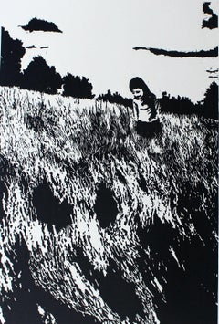 Journey's companion III - XXI century, Black and white linocut print, Figurative