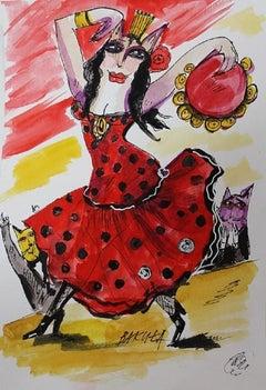 Carmen - XXI century, Watercolour figurative, Colourful, Cultural commentary