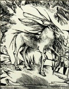 A rickety pegasus - XXI century, Black and white etching, Mythological