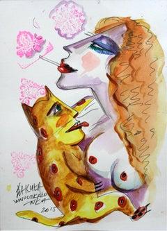 Wnuczkożonka - XXI century, Watercolour figurative, Colourful, Cat
