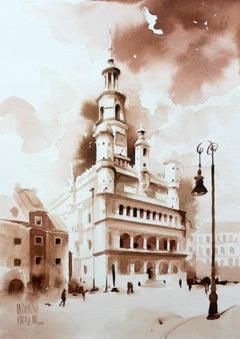 The Poznań Town Hall - XXI century, Watercolour figurative, Architecture