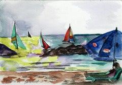 Tel Aviv - XXI century, Watercolour figurative, Colourful, Landscape