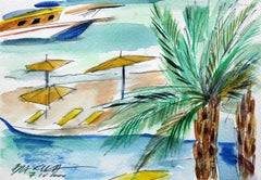 Beach umbrellas - XXI century, Watercolour figurative, Colourful, Landscape