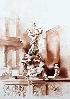 Poznań - the Proserpina Fountain - XXI century, Watercolor figurative