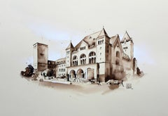 The Imperial Castle in Poznań - Watercolour figurative, Architecture, Landscape