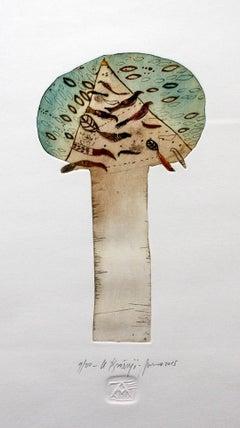 A tree - XXI century, Figurative print, Colourful, Earth tones