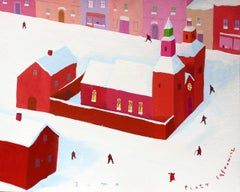 Winter - XXI century, Gouache on paper, Town scene, Bright