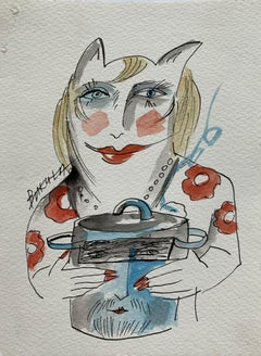 Gar Anonim - XXI century, Watercolour figurative, Colourful, Two sided artwork