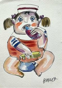 A child - XXI century, Watercolour figurative, Colourful, Satirical