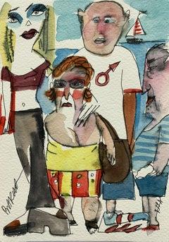 Beach people - XXI century, Watercolour figurative, Colourful, Satirical