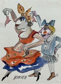 Can-can - XXI century, Watercolour figurative, Colourful, Satirical