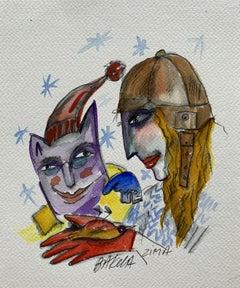 Winter - XXI century, Watercolour figurative, Colourful, Satirical