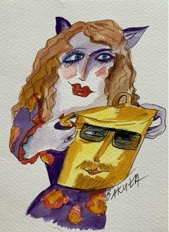 Gar Anonim - XXI century, Watercolour figurative, Colourful