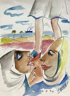Friends - XXI century, Watercolour figurative, Colourful