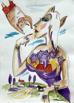 Candidate - XXI century, Watercolour figurative, Colourful, Satire