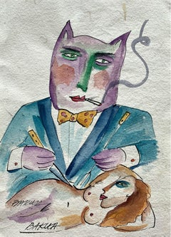 A gourmet - XXI century, Watercolour figurative, Colourful, Satire