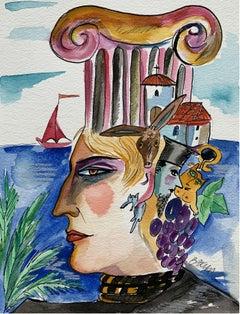 Caryatid - XXI century, Watercolour figurative, Colourful, Portrait