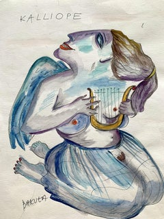 Calliope - XXI century, Watercolour figurative, Colourful, Mythology