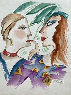 A conversation - XXI century, Watercolour figurative, Colourful, Portraits