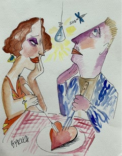 Heart on a plate - XXI century, Watercolour figurative, Colourful, Satirical