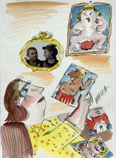 A memory - XXI century, Watercolour & collage, Figurative, Colourful, Satirical