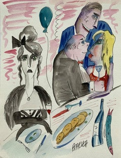 Admirers - XXI century, Watercolour, Figurative, Colourful, Satirical