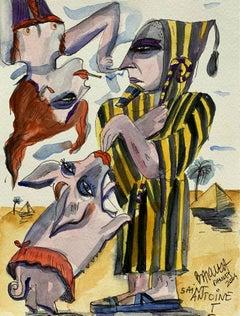 Saint Antoine - XXI century, Watercolour, Figurative, Colourful, Satirical